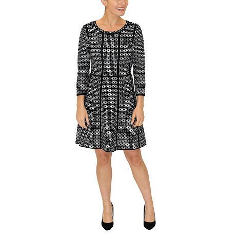 Donna Ricco 3/4 Sleeve Geometric Knit A-Line Sweater Dress
