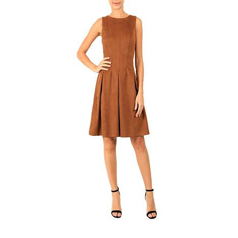 Donna Ricco Faux Suede Sleeveless  A-Line Dress
