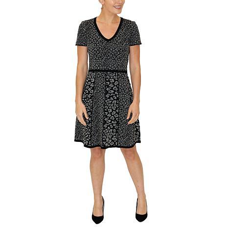 Donna Ricco Leopard Print Metallic Knit A-Line Sweater Dress