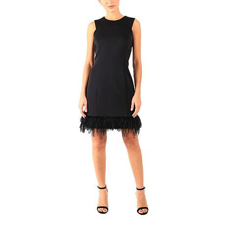 Donna Ricco Sleeveless  Cocktail Dress with Feather Hem