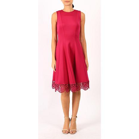 Donna Ricco Sleeveless  Fit-and-Flare Dress with Crochet Hem