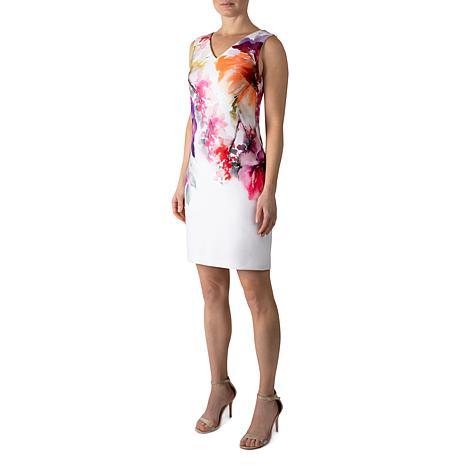 Donna Ricco V-Neck Sleeveless Abstract Floral Sheath Dress