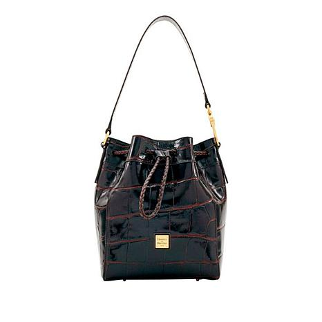 Dooney Bourke Croco Embossed Hattie Leather Drawstring Bag