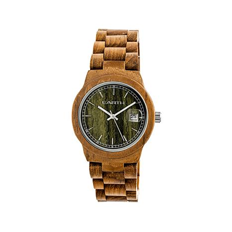 Earth Wood Biscayne Olive-Color Dial Bracelet Watch