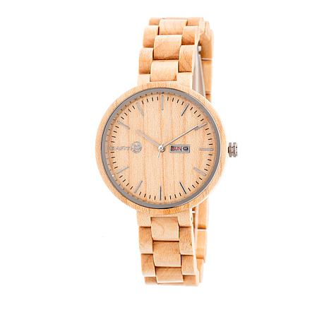 "Earth Wood Goods ""Mimosa"" Khaki Wood Bracelet Watch"