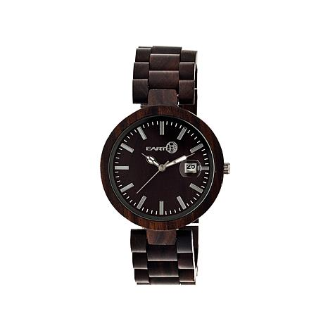 "Earth Wood ""Stomates"" Brown Dial Wood Bracelet Watch"