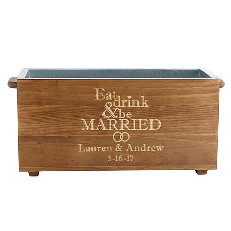Eat Drink & Be Married Wood Beverage Chiller
