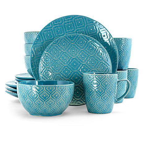 Elama Aqua Lilly 16 Piece Round Stoneware Dinnerware Set in Aqua
