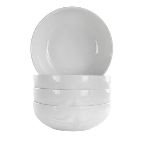 Elama Deluxe Elegance 4 Piece Porcelain Bowl Set in White