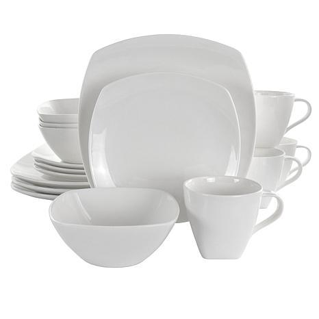 Elama Deluxe Square 16 Piece Porcelain Dinnerware Set in White
