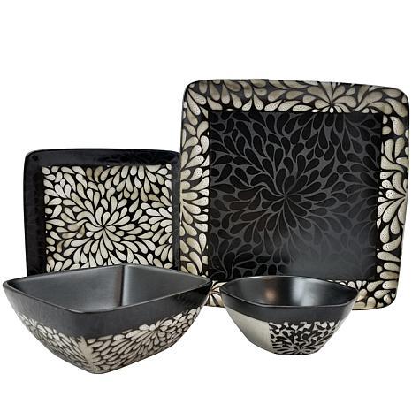 Elama Desert Bloom 16-piece  Dinnerware Set
