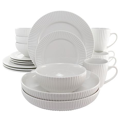 Elama Elle 18 Piece Porcelain Dinnerware Set with 2 Large Serving B...