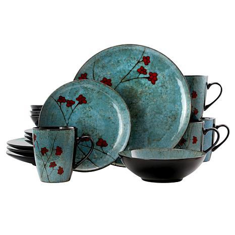 Elama Floral Accents 16 Piece Stoneware Dinnerware Set In Blue