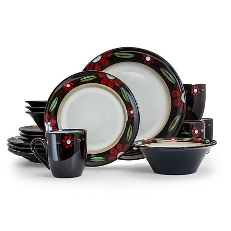 Elama Homestead 16 Piece Round Stoneware Dinnerware Set in Brown an...