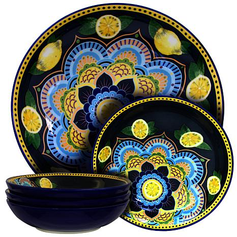 Elama Luna De Lemon 5-piece Pasta Serving Bowl Set