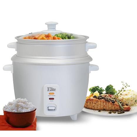 Elite Gourmet 6-Cup Rice Cooker with Steam Tray