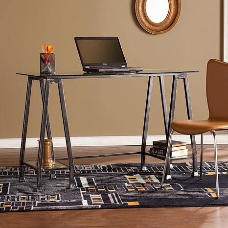 Ella Metal/Glass A-Frame Desk - Distressed Black