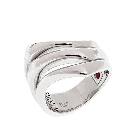 "ELLE ""Flare"" Wave Design Sterling Silver Ring"
