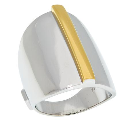 ELLE Sterling Silver and Gold-Plated Two-Tone Dome Ring