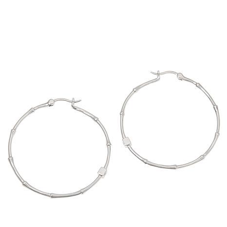 300511d90 ELLE Sterling Silver Bamboo Hoop Earrings - 9151795 | HSN