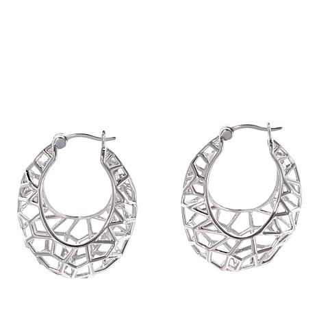 "ELLE ""Vogue"" Geometric Open Space Sterling Silver Hoop Earrings"