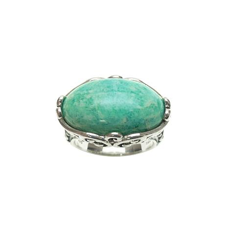 Elyse Ryan Sterling Silver Oval Amazonite Ring