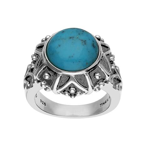 Elyse Ryan Sterling Silver Round Turquoise Ring