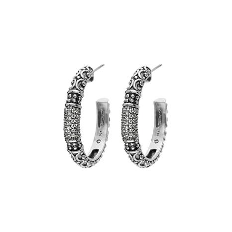 Elyse Ryan Sterling Silver White Topaz Hoop Earrings