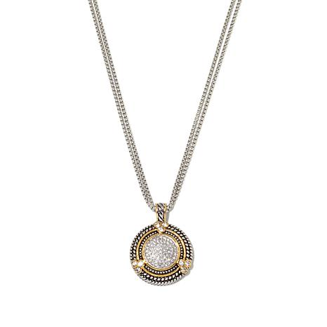 "Emma Skye 2-Tone Crystal Disc Pendant with 17"" Chain"