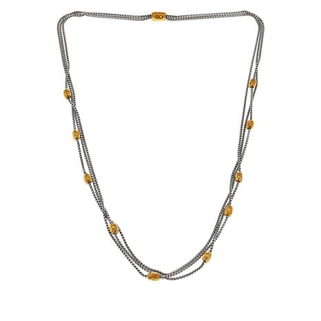 Emma Skye Stainless Steel 2-Tone 3-Strand Rolo Chain Necklace