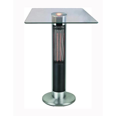 EnerG Infrared Electric Outdoor Heater Bar Height Square Glass Table