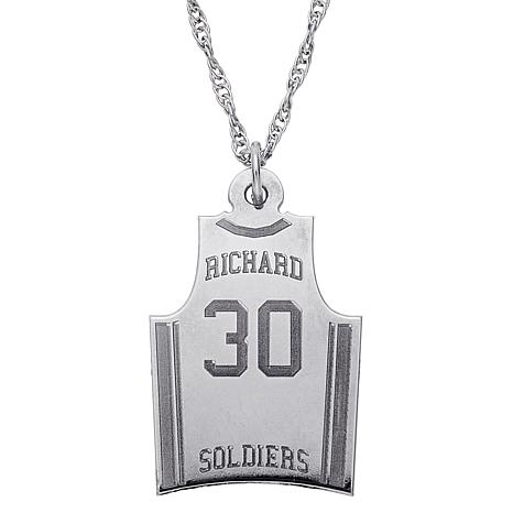Engraved Basketball Jersey Silver Pendant with Chain