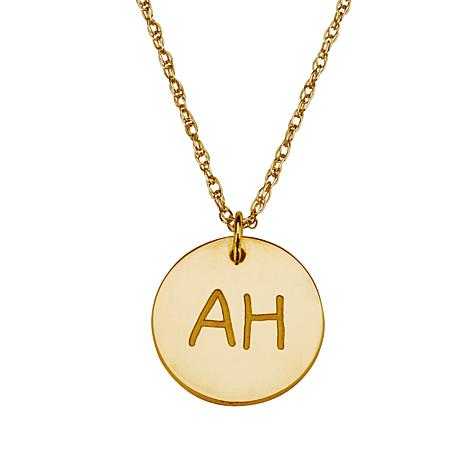 Engraved Goldtone Sterling Silver Pendant with Chain