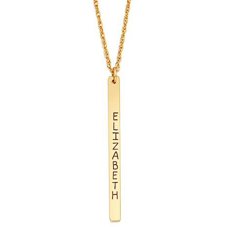 """Engraved Vertical Bar Pendant with 20"""" Rope-Link Chain"""