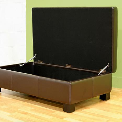 ... Esmeralda Leather Storage-Ottoman - Dark Brown - Leather Storage-Ottoman - Dark Brown - 6439751 HSN