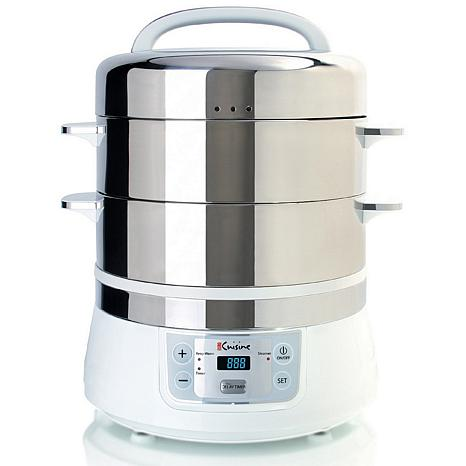 Euro Cuisine Electric Stainless Steel Food Steamer - White