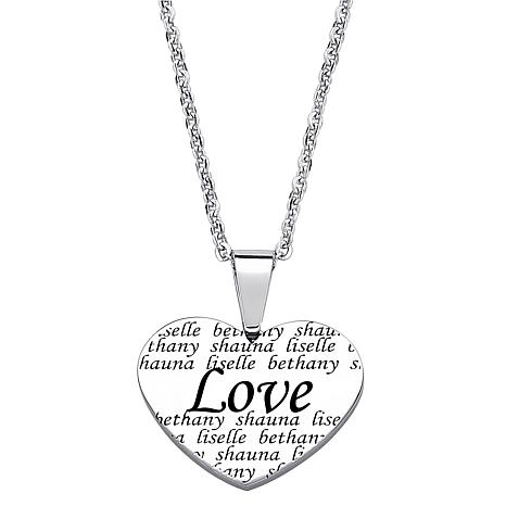 Everscribe love engraved names heart necklace 7505005 hsn everscribe engraved name heart shaped pendant and chain aloadofball Choice Image