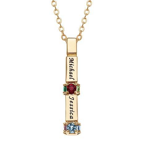 Family Bar Name and Birthstone Crystal Pendant