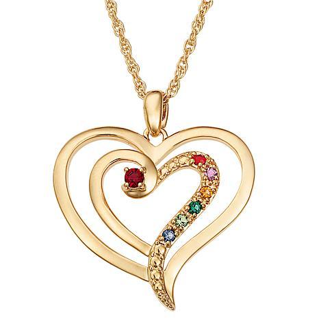 Family Heart Birthstone Crystal Pendant