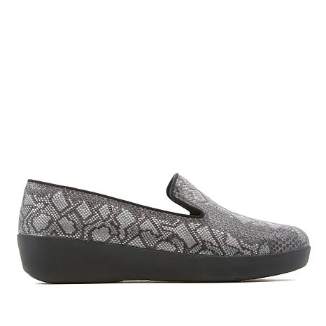 FitFlop Audrey Python-Print Leather Smoking Slipper