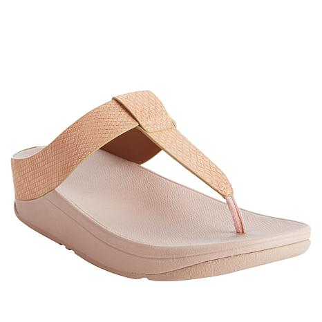 FitFlop Lina Shimmy Snake Embossed Thong Sandal