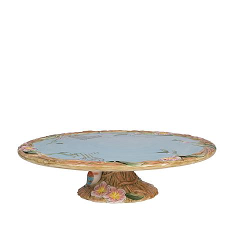 Fitz and Floyd Hand Painted Toulouse Footed Cake Plate