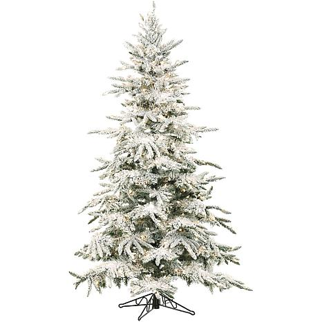 Flocked Mountain Pine 7-1/2' Christmas Tree with Lights