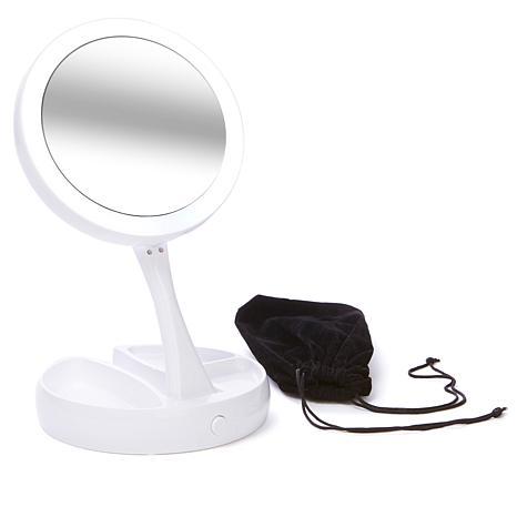 Foldaway Mirror w/LED Lights, Storage Trays and Pouch