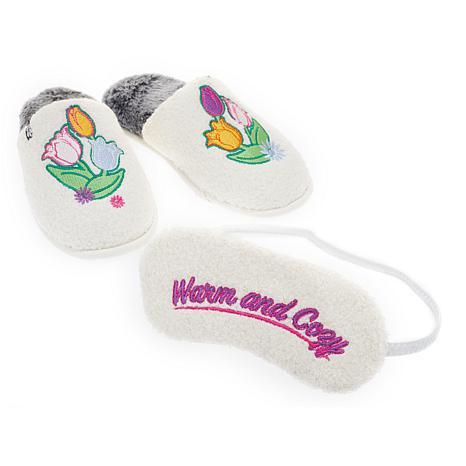 Foot Petals Springtime Slipper and Sleep Mask Set