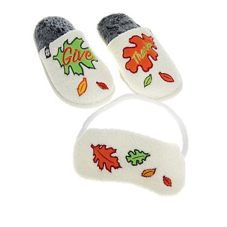 Foot Petals Thanksgiving Slipper and Sleep Mask Set