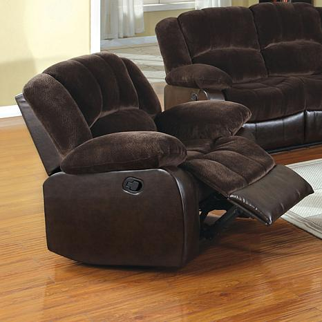Furniture of America Justeen Leatherette & Champion Fabric Recliner