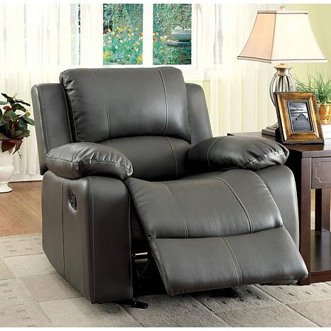 Furniture Of America Melrose Leatherette Glider Recliner   Gray
