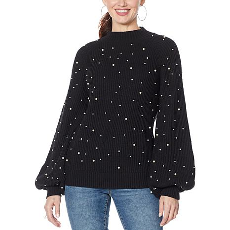 INC Womens Beaded Bell Sleeves Pullover Sweater