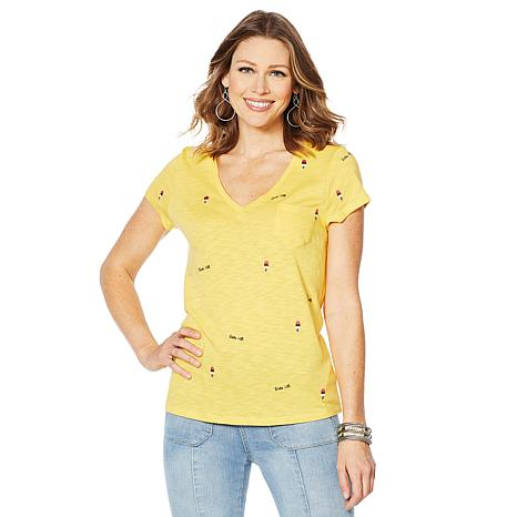 G by Giuliana Embroidered V-Neck Tee